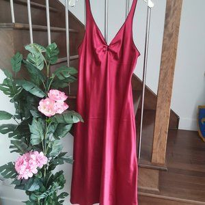 Jones New York Satin Slip Red Dress Intimate Wear